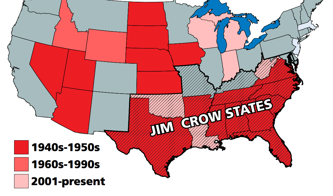 The past and present of right-to-work leglislation - Freedom ... Image Map Of Usa States Racism on map of usa election 2014, map of usa republican, map of usa race, map of usa red states, map of usa pollution, map of usa unemployment, map of usa homeless, map of usa manifest destiny, map of usa immigrant, map of usa tribe,