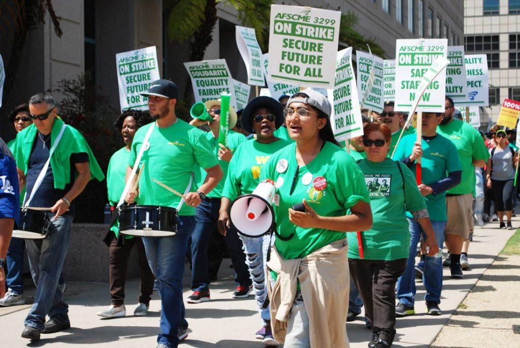 California unions strike in solidarity