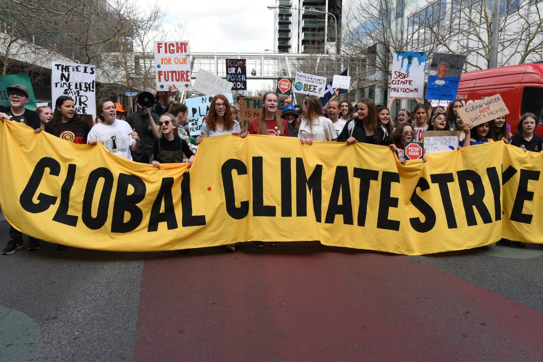 Youth partake in the Canberra Climate Strike on September 20, 2019