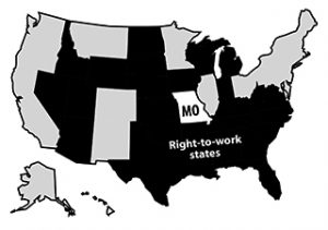 Right-to-work states map