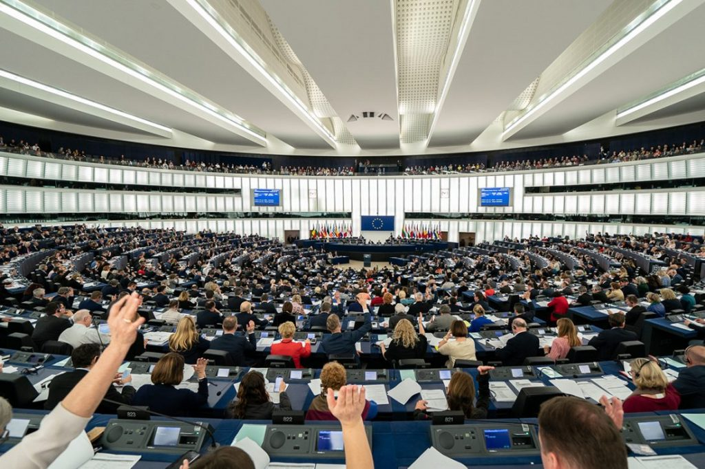 Ministers, who number 751 in total, vote during a session of the EU Parliament in Brussels, Belgium.