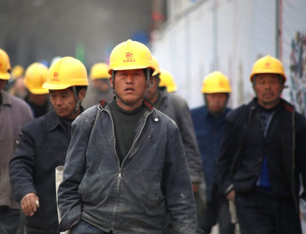 Workers in China engaging in a wildcat strike
