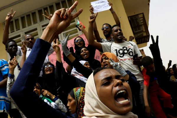 Sudanese protesters.