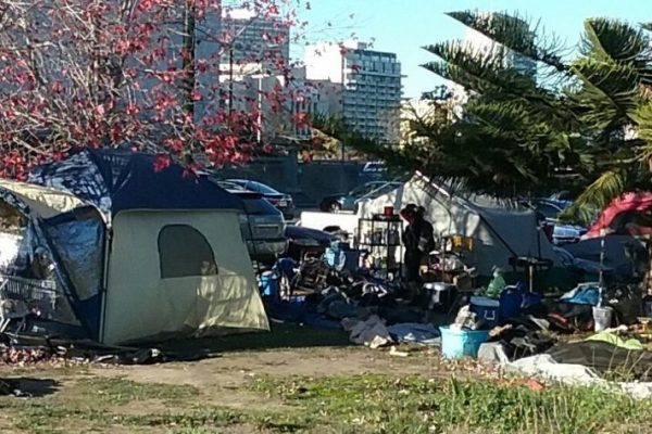 A homeless camp near Laney College campus in Oakland, CA.