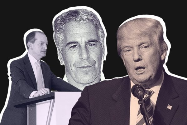 Former Secretary of Labor Alex Acosta, billionaire financier Jeffrey Epstein, and Donald Trump.