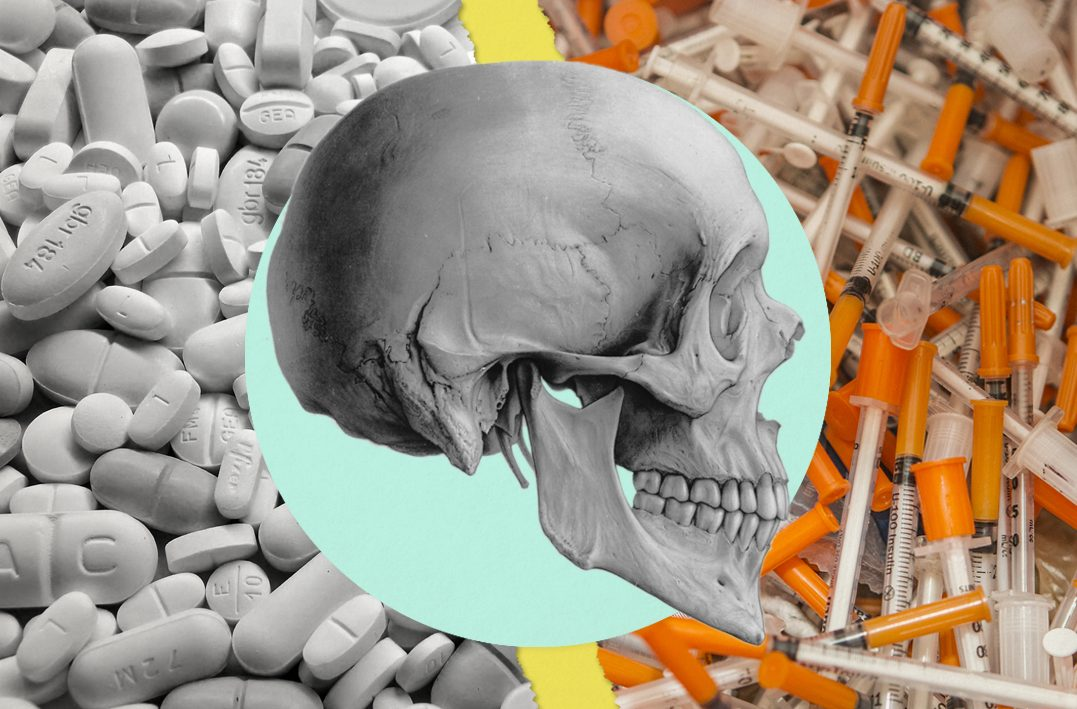 Illustration of a skull in front of opioid pills and syringes.