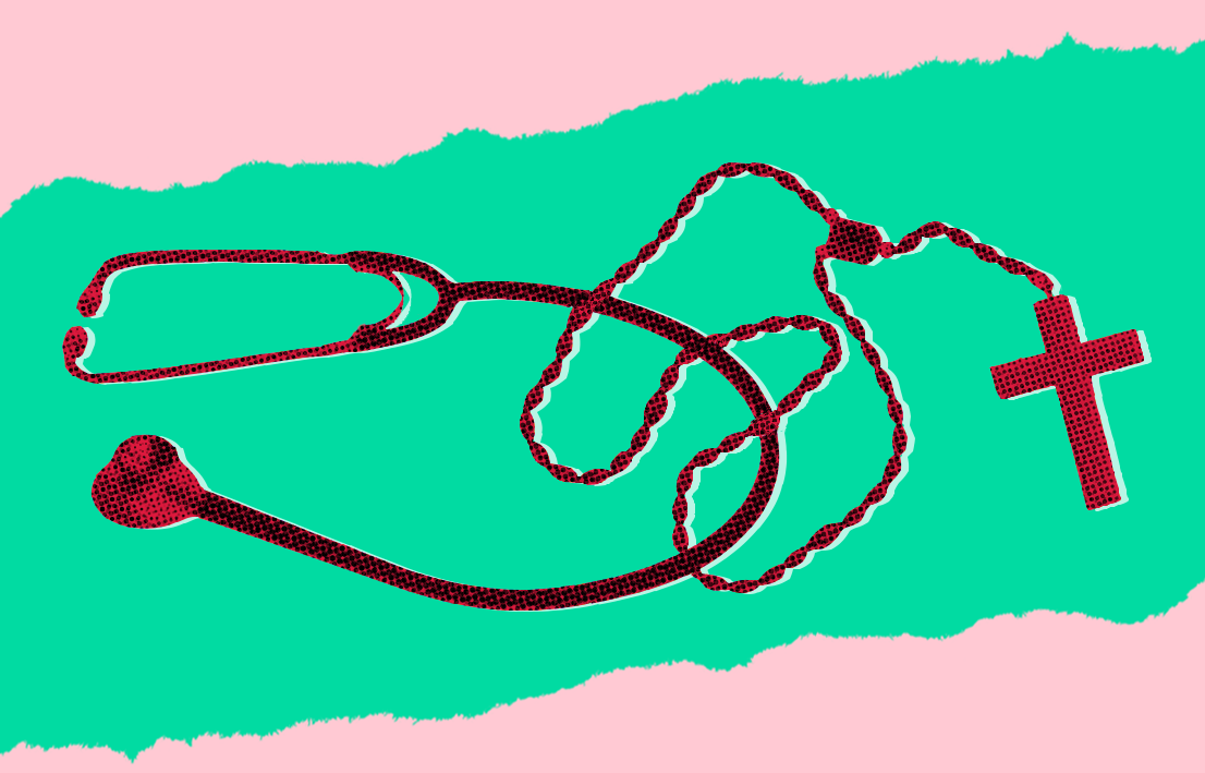 A stethoscope intertwined with a rosary