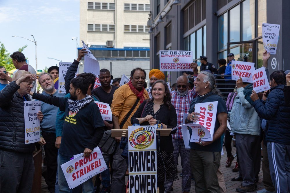 New York Taxi Workers Alliance rally for Uber strikers, Long Island City, New York, May 2019. PHOTO: Jonathan Sperling