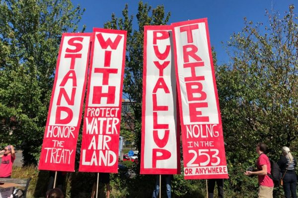 "Four vertical banners. The large words are STAND WITH PUYALLUP TRIBE. Smaller words include ""Honor the treaty,"" ""Protect water and land,"" and ""No LNG in the 253 or anywhere."""