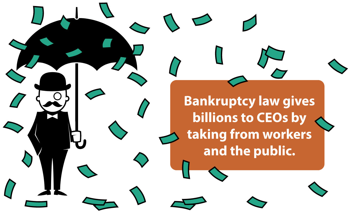 A rich-looking cartoon figure holds an umbrella as paper money falls from the sky.