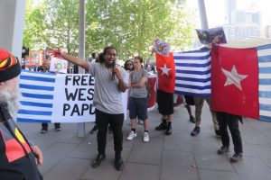 Protestors at a passionate speak-out in support of West Papua