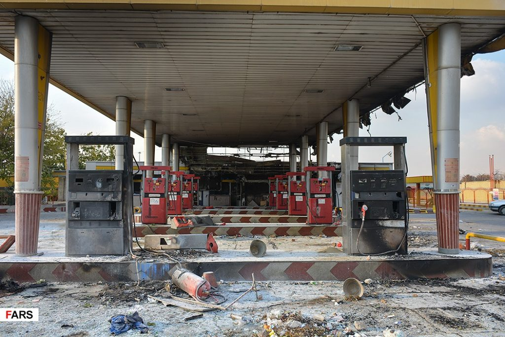 Burned out gas station in Iran