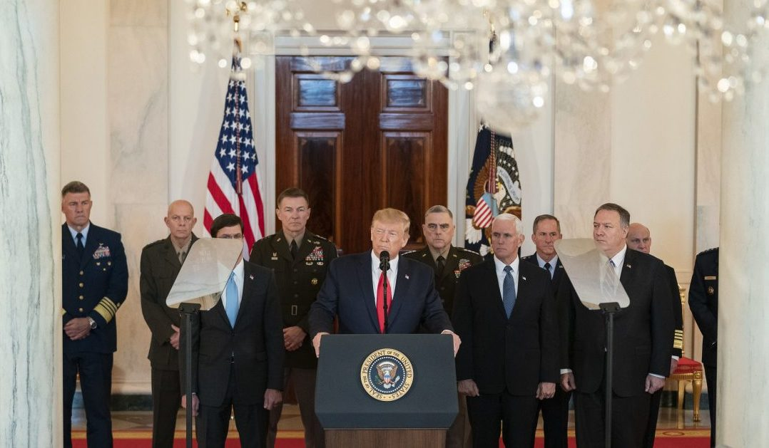 Donald Trump, joined by Vice President Mike Pence, senior White House advisors and senior military personnel, delivers remarks during a national televised address Wednesday, Jan. 8, 2020, responding to Iran's retaliatory missile strike on an Iraqi military base.