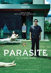 Movie poster for Parasite. The actors' eyes are all blocked out by narrow horizontal bands of either black or white.