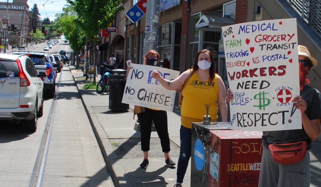 OWLS members protesting for better working conditions