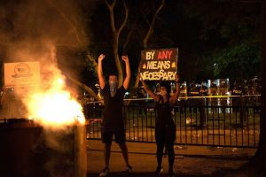 Protestors at an anti-police violence protest