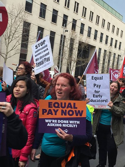 Women protesting for equal pay