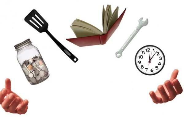 A photo collage depicting two hands juggling a jar of coins, a spatula, a book, a box wrench, and a clock.
