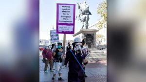 Anti-fascist counter-protesters outnumber Proud Boys seventy to one