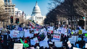 Large protest outside White House