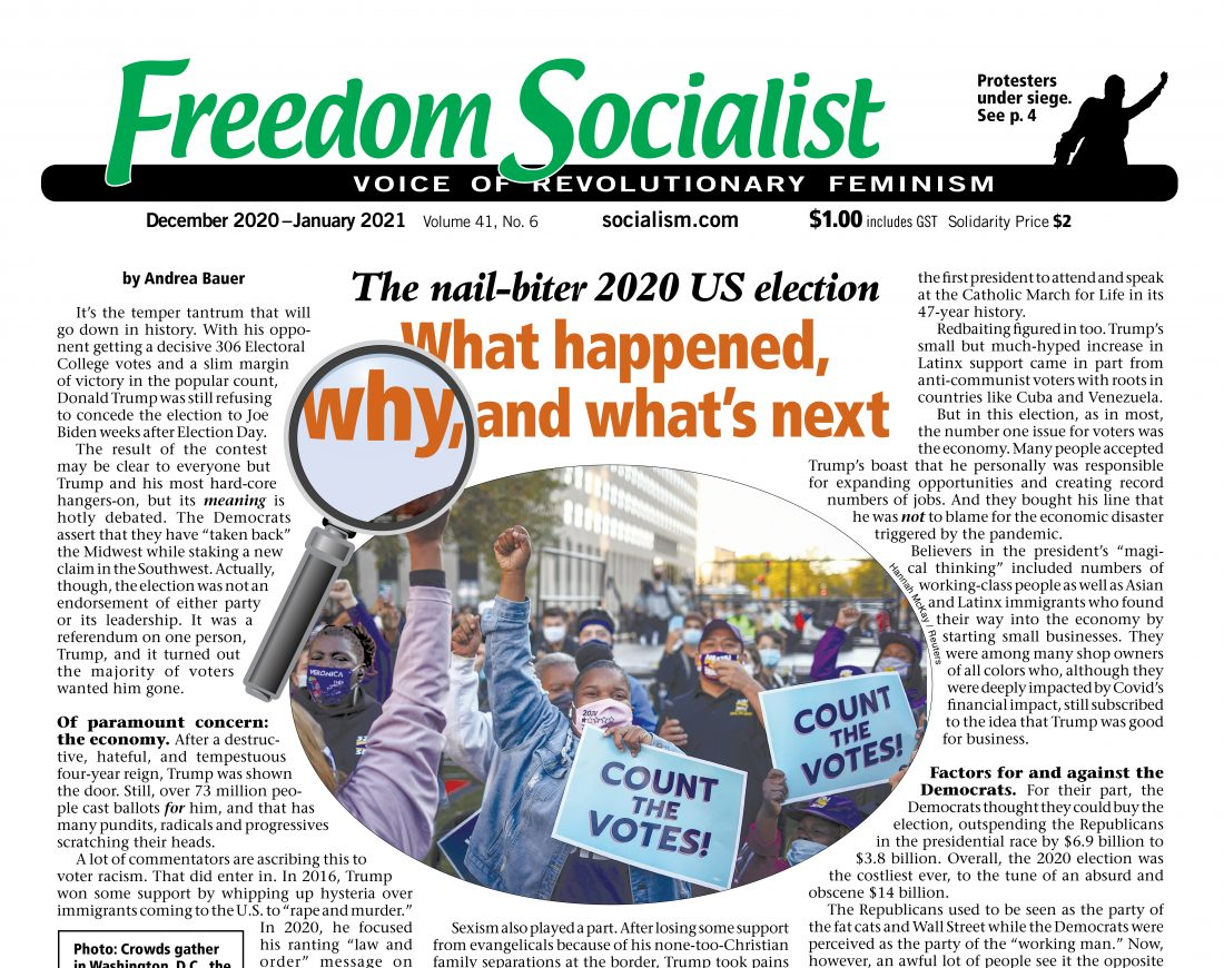 Freedom Socialist Newspaper latest cover