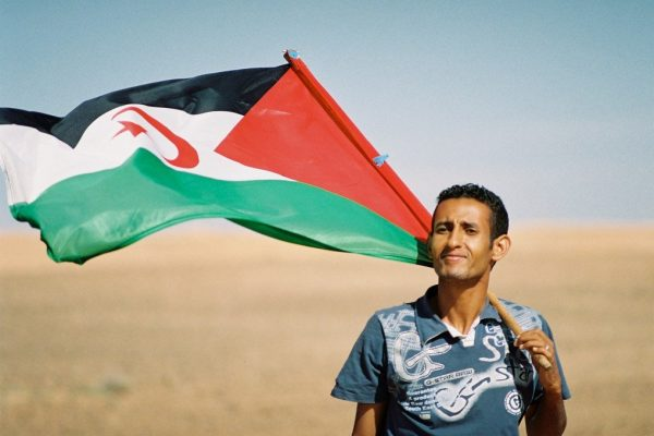 Sahrawi with flag