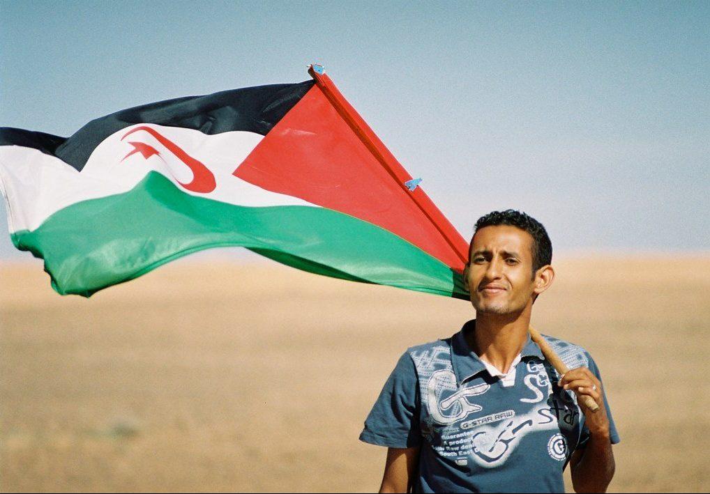 Sahrawi with flag