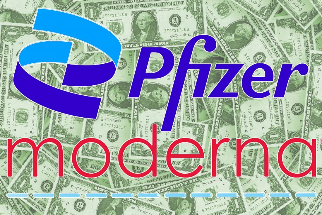 The Pfizer and Moderna logos, on a background of money.