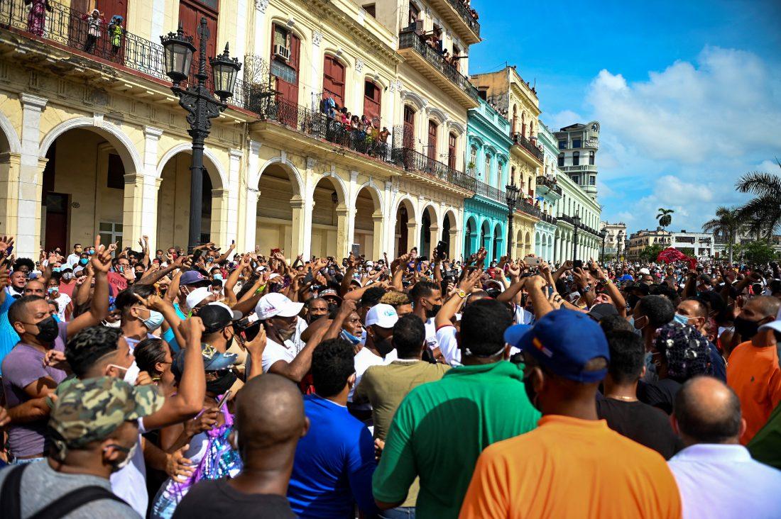 Manifestación en La Habana, 11 de julio.