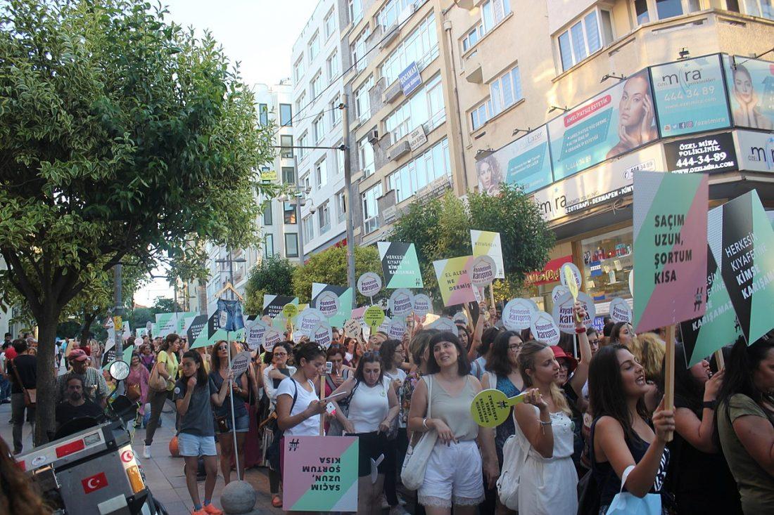 """Turkish women take part in the """"Kıyafetime karışma"""" protest in Kadıköy, Istanbul on July 29, 2017."""