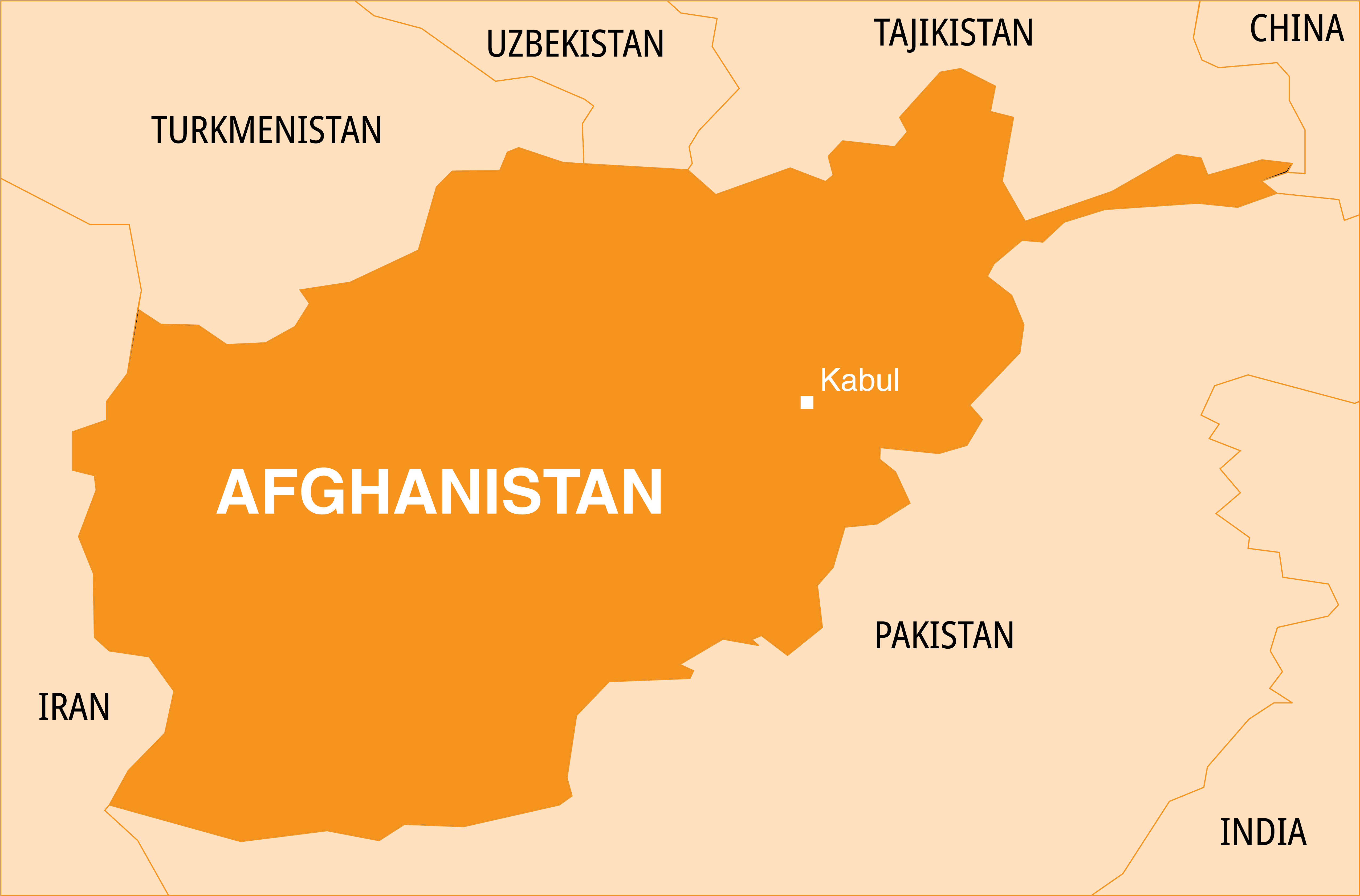 Landlocked Afghanistan is surrounded by six countries: Iran to the west; Turkmenistan, Uzbekistan, and Tajikistan, to the north; a very short border with China; and shares a long southern border with Pakistan.