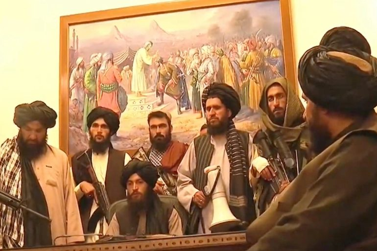 Group of armed Taliban men